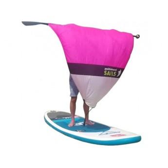 Rolovací plachta na pádlo pro paddleboard RŮŽOVO/BÍLÁ S OKÉNKEM