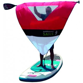 Rolovací plachta na pádlo pro paddleboard ČERVENO/BÍLÁ S OKÉNKEM